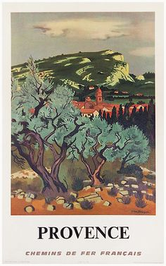 SNCF Provence (Small/ Brayer) by Brayer c.1960 15 x 23 inches (38 x 58 cm) An arid landscape showing the remarkable trees of Provence, France.