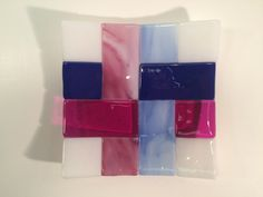 """6"""" x 6"""" fused glass plate - pink and blue weave"""