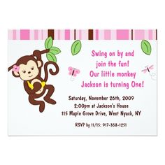 Girl Monkey Jungle Custom Birthday Invitation