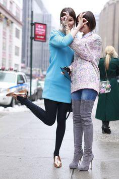 Los mejores looks de Street Style en la Semana de la Moda de Nueva York: Hanneli Mustaparta y Miroslava Duma