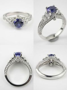 Antique Style Sapphire Engagement Ring RG3341b Sapphire