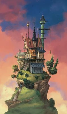 The Art of Pierre-Antoine Moelo a/k/a Péah 3d Fantasy, Fantasy Castle, Fantasy House, Fantasy Artwork, Fantasy World, Fantasy Art Landscapes, Fantasy Landscape, Landscape Art, Isometric Art