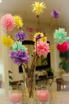 Pom Poms added a lot of of style and character for my little girls 7th Birthday party..So easy to make.