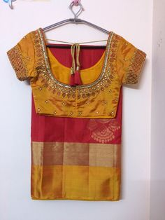 Yellow n red uppada saree with hand embroidered blouse Hand Work Blouse Design, Simple Blouse Designs, Stylish Blouse Design, Saree Blouse Neck Designs, Bridal Blouse Designs, Dress Designs, Traditional Blouse Designs, Designer Blouse Patterns, Cutwork Saree