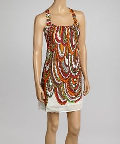 Love this White & Orange Abstract Sleeveless Dress by Aryeh on #zulily! #zulilyfinds