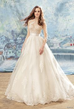 papilio 2017 bridal three quarter sleeves sheer jewel sweetheart heavily embellished bodice romantic princess a line wedding dress chapel train (blouse) mv -- Papilio 2017 Wedding Dresses