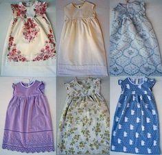 A vintage pillow case refashions into a beautiful dress.