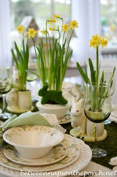 Between Naps on the Porch | Spring Easter Table Setting with Daffodil and Moss Centerpiece | http://betweennapsontheporch.net