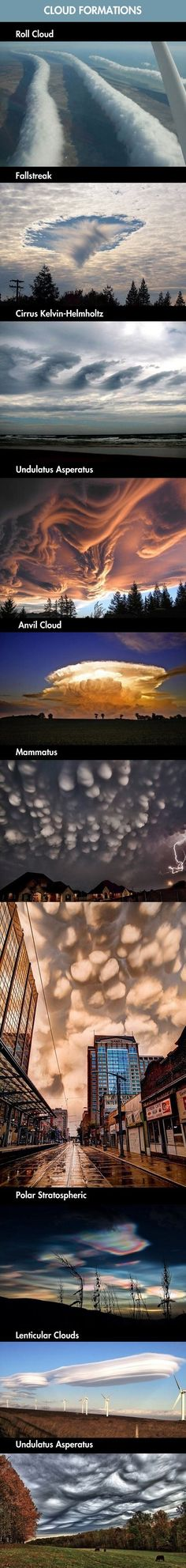 Incredible Cloud Formations... wow they're all so pretty. I've never seen a cloud that looks like those
