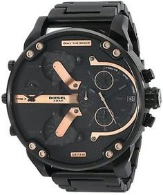 Diesel Only the Brave Black & Rose Gold Oversized Stainless Steel Watch Diesel Watches For Men, Big Watches, Stylish Watches, Cool Watches, Black Watches, Black Stainless Steel, Stainless Steel Watch, Watch Sale, Casio Watch