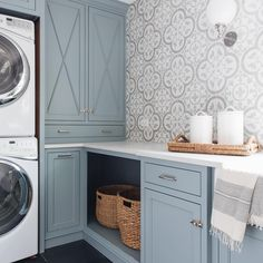 Best Blue Gray Paint Colors These Benjamin Moore Cloudy Sky laundry room cabinets are the perfect example of a blue gray paint colors!These Benjamin Moore Cloudy Sky laundry room cabinets are the perfect example of a blue gray paint colors! Home Design, Küchen Design, Bath Design, Laundry Room Remodel, Laundry Room Cabinets, Laundry Room Tile, Diy Cupboards, Laundry Room Curtains, Corner Cabinets