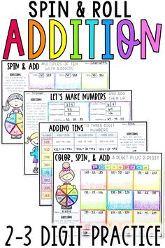 These 2 digit addition and 3 digit addition worksheets and printable are perfect for first grade, 2nd grade, and 3rd grade students. Use these activities while teaching addition with regrouping or no regrouping. Students will practice adding tens and hundreds within 100 or 1000. These dice activities and spin activities are horizontal addition problems.