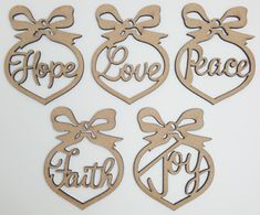 5 xMDF Wooden Heart Bows with Text Shape. 5 x wooden shapes, each is. Any laser processing marks can be removed by a light sanding or simply painting over. Laser Cut Mdf, Laser Cutting, Wooden Shapes, Star Butterfly, Wooden Hearts, Decor Crafts, Peace And Love, Heart Shapes, Gift Tags