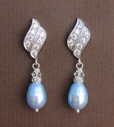 Blue Bridal Earrings  Blue Pearl and Crystal Drop by JamJewels1, $37.00
