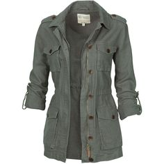 Fat Face Linen Military Jacket (155 BRL) ❤ liked on Polyvore featuring outerwear, jackets, tops, coats, olivine, military inspired jacket, military button jacket, zipper jacket, military jacket and lightweight zip jacket