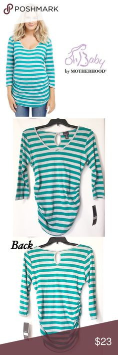 """🆕 Oh Baby by Motherhood Striped Maternity Tee Green & Gray striped tee by Oh Baby. 3/4 Sleeves. Ruched sides for comfortable fit. Back neck keyhole design detail. Cotton/Polyester. Oh baby size chart: M (8-10) chest 38-39"""", Please order pre-pregnancy size. Brand new with tags. Oh Baby by Motherhood Tops Tees - Long Sleeve"""