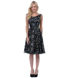 QUEEN OF HEARTZ 1950's Style Black & Gold Priscilla Dress - Unique Vintage - Cocktail, Pinup, Holiday & Prom Dresses.
