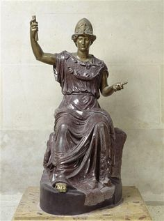 Roman statue of Minerva (Athena) - bronze, porphyry, century AD, Louvre musuem, Paris Minerva Goddess, Celtic Goddess, Athena Goddess, Ancient Rome, Ancient Greece, Ancient Art, Greek And Roman Mythology, Greek Gods And Goddesses, Roman Sculpture