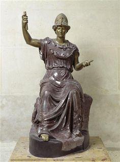 Minerva (Athena), Roman statue (bronze, porphyry), 3rd century AD, (Musée du Louvre, Paris).