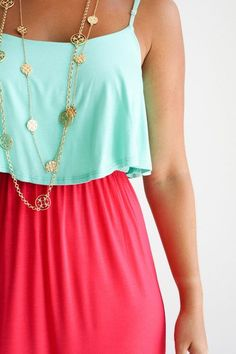 color blocked maxi dress, with tory burch necklaces                                                                                                                                                                                                                                                                                                                                                                                                                                                                                                                                                             blondehairandpearls.tumblr.com