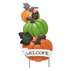 "Celebrate Fall Together Pumpkin ""Welcome"" Garden Stake, Multicolor"