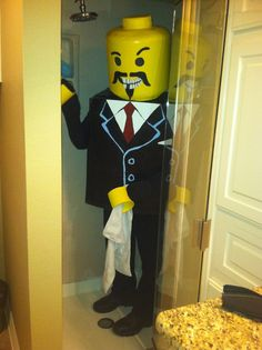 This is the lego costume I made for myself....complete with interchangeable facial features.  Even Lego's gotta shower! Lego Halloween, Halloween Ideas, Lego Costume, Costumes, Legos, Facial, Cosplay, Shower, Fictional Characters