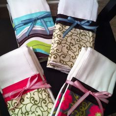 Sewed these boy and girl burp cloths. Sold them too!!! ;) if you need some for a baby shower let me know!
