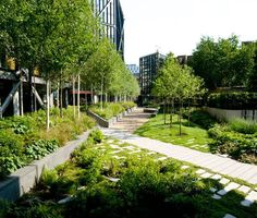 NEO Bankside, by Gillespies, in London, United Kingdom.  via http://landarchs.com/how-neo-bankside-became-an-unexpected-urban-site-for-the-birds-and-the-bees/