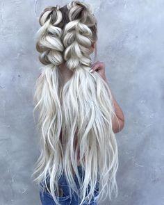 39 Trendy + Messy & Chic Braided Hairstyles   Beachy braid ponytails hairstyle #halfuphalfdown #braids #hairstyles
