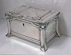 View this item and discover similar for sale at - Austrian silver casket box, Vienna, circa The box of strong jugendstil nouveau secessionist design on four turned bracket stylized bracket supports, Silver Enamel, Antique Silver, Casket, Decorative Objects, Art Decor, Home Decor, Antique Furniture, Art Nouveau, Crates
