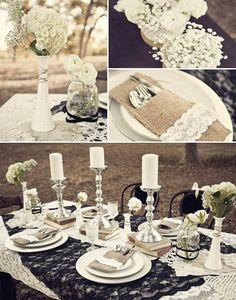 13 hochzeit tisch dekoration jute schwarz spitze weiss Schwarz und Weiß Hochzeitsthema Idee