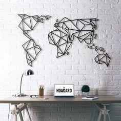 (New) Metal Wall Art - World Map - Hoagard