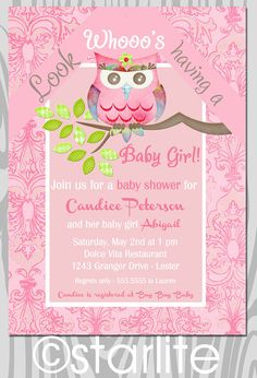 Owl baby shower invitation  Shabby Chic Owl  baby girl by starwedd, $15.00