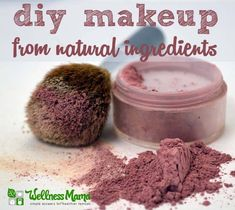 Homemade natural blush makeup with arrowroot, hibiscus powder and cocoa powder is a natural and beautiful DIY option.
