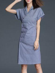 Blue Stripes Short Sleeve Cotton Surplice Neck Midi Dress