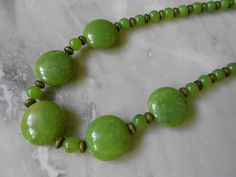 Vintage Natural Green Jade Necklace - Olive Green Nephrite Beaded Necklace - Adjustable Chain Greenstone Necklace - March Birthstone on Etsy, $25.00