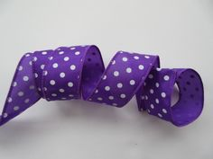 Purple Dot Ribbon Purple Dotted Ribbon Wired 1 1/2 by DanJSupplies