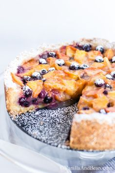 Blueberry Peach Cobbler-Tart - An easy, seasonal treat. Served at room temperature with a big scoop of vanilla ice cream. Sooo delicious!