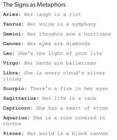 The signs as metaphors. #zodiac #ForHer #she #metaphors