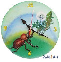 Painted Wall Clock, Handmade, Bug, Stag-Beetle, Beetle, Dandelion; Blowball; Irish Daisy, Decor, Painting, Nature