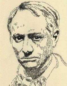 Retrato de Baudelaire realizado con frases de Las flores del mal. Realizado por John Sokol. http://johnsokol-artist-author.com
