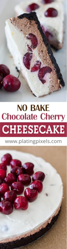 Chocolate Cherry Cheesecake by Plating Pixels. Silky-smooth chocolate filling, topped with a layer of whipped cream infused with chocolate liqueur soaked-cherries. - www.platingpixels.com