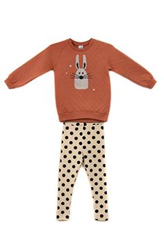 Ppippilong Kids Urban | Petite Bunny Girls 2pc Warm Quilted Streetwear Easywear Set (Sizes 2-4)