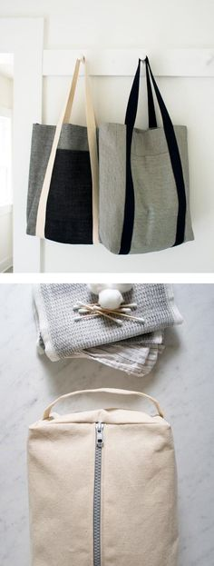 DIY Sewing Projects - Holiday Gift Ideas. Zippered Dopp Kit at https://www.purlsoho.com/create/2014/10/16/zippered-dopp-kit/  and Tote at https://www.purlsoho.com/create/2014/07/06/mollys-sketchbook-railroad-tote/
