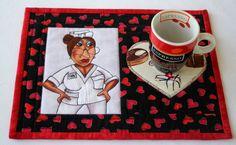 Nurse Mug Rug  Quilted Mug Rug  Snack Mat  by RedNeedleQuilts