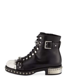 dfa02dcb9873 X3K81 Alexander McQueen Studded Lace-Up Cap-Toe Boot
