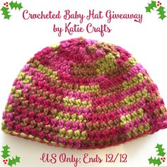 Crocheted Baby Hat Giveaway; handmade with 100% baby alpaca chunky yarn, perfect gift for your little one! US only, ends 12/12/15   by Katie Crafts - Crafting, Sewing, Recipes and More! https://katiecrafts.com