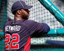 Jason Heyward of the Atlanta Braves looks on during batting practice before a game. #Spring Training