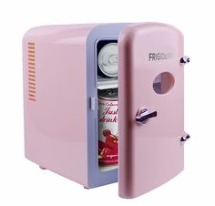 Keep snacks fresh with this retro-inspired Frigidaire Portable Retro Mini Fridge Pink). The door of this retro mini cooler stays closed with a locking latch and features a see-through window. Cute Room Ideas, Cute Room Decor, Fun Ideas, Room Ideas Bedroom, Bedroom Decor, My New Room, My Room, Portable Mini Fridge, Rangement Makeup