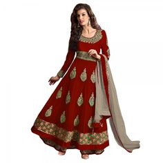 Buy Red Semi Stitched Net Salwar Kameez Online at cheap prices from Shopkio.com: India`s best online shoping site